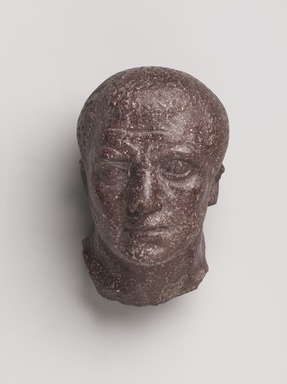 <em>Head of a Man</em>, ca. 3rd-4th century C.E. Porphyry, 6 1/2 x 4 1/8 x 4 1/8in. (16.5 x 10.4 x 10.5cm). Brooklyn Museum, Bequest of Mrs. Carl L. Selden, 1996.146.8. Creative Commons-BY (Photo: , 1996.146.8_PS9.jpg)
