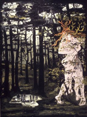 Derek Boshier (English, born 1937). <em>Lovers in the Forest</em>, 1986. Oil on canvas, 96 x 72 in. Brooklyn Museum, Gift of William and Susan Schiff, 1996.149. © artist or artist's estate (Photo: Brooklyn Museum, 1996.149_transp3093.jpg)