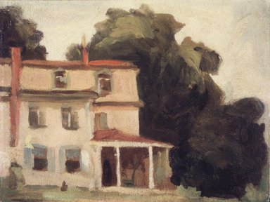 Thomas Pollock Anshutz (American, 1851-1912). <em>House and Tree (The Artist's House)</em>, after 1895. Oil on laminated paperboard, 7 7/8 x 10 3/8 in. (20 x 26.4 cm). Brooklyn Museum, Bequest of Mrs. Carl L. Selden, 1996.150.1 (Photo: Brooklyn Museum, 1996.150.1_transp3092.jpg)