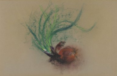 Loren MacIver (American, 1909-1998). <em>Spanish Onions</em>, 1961. Pastel, 12 3/4 x 20 in. (32.4 x 50.8 cm). Brooklyn Museum, Bequest of Mrs. Carl L. Selden, 1996.150.20. © artist or artist's estate (Photo: Brooklyn Museum, 1996.150.20_PS2.jpg)