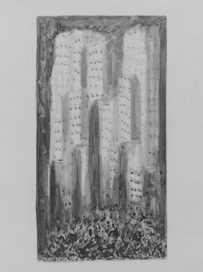 Abraham Walkowitz (American, born Russia, 1878-1965). <em>Improvisations of New York</em>, 1911. Tempera on paper, 13 x 6 7/8in. (33 x 17.5cm). Brooklyn Museum, Bequest of Mrs. Carl L. Selden, 1996.150.4 (Photo: Brooklyn Museum, 1996.150.4_bw.jpg)