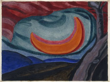 Oscar Florianus Bluemner (American, born Prussia, 1867-1938). <em>Loving Moon</em>, 1927. Watercolor, possibly with a surface coating, on cream, medium weight, slightly textured wove paper mounted to thick black woodpulp board, 9 15/16 x 13 5/16 in. (25.2 x 33.8 cm). Brooklyn Museum, Bequest of Mrs. Carl L. Selden, 1996.150.9 (Photo: Brooklyn Museum, 1996.150.9_SL1.jpg)