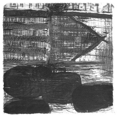 Karen Kunc. <em>Gate Cairn</em>, 1995. Glass intaglio with wood relief, 11 1/8 x 11 1/8 in. (28.3 x 28.3 cm). Brooklyn Museum, Emily Winthrop Miles Fund, 1996.16.1. © artist or artist's estate (Photo: Brooklyn Museum, 1996.16.1_bw.jpg)