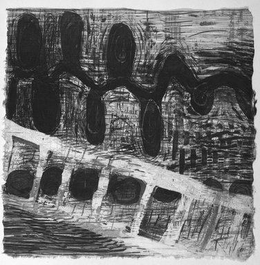 Karen Kunc. <em>Bower Branch</em>, 1995. Glass intaglio with wood relief, 11 1/8 x 11 1/8 in. (28.3 x 28.3 cm). Brooklyn Museum, Emily Winthrop Miles Fund, 1996.16.2. © artist or artist's estate (Photo: Brooklyn Museum, 1996.16.2_bw.jpg)