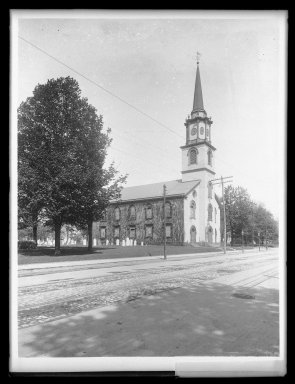 Daniel Berry Austin (American, born 1863, active 1899-1909). <em>Dutch Reformed Church, Flatbush at Church, Flatbush, Long Island</em>, ca. 1899-1909. Gelatin silver glass dry plate negative Brooklyn Museum, Brooklyn Museum/Brooklyn Public Library, Brooklyn Collection, 1996.164.1-1064 (Photo: Brooklyn Museum, 1996.164.1-1064_IMLS_SL2.jpg)