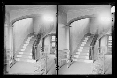 Daniel Berry Austin (American, born 1863, active 1899-1909). <em>Captain Story-Martense House, Hallway and Stairs, Church Avenue and East 38th Street, Flatbush, Brooklyn</em>, ca. 1899-1909. Gelatin silver glass dry plate negative Brooklyn Museum, Brooklyn Museum/Brooklyn Public Library, Brooklyn Collection, 1996.164.1-63 (Photo: Brooklyn Museum, 1996.164.1-63_IMLS_SL2.jpg)