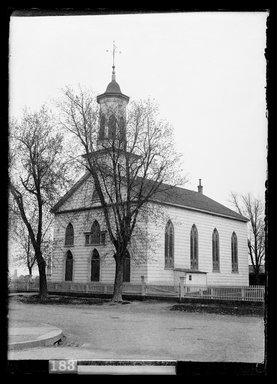 Daniel Berry Austin (American, born 1863, active 1899-1909). <em>Dutch Reformed Church, New Lots Road opposite Schenck Avenue, New Lots</em>, April 26, 1903. Gelatin silver glass dry plate negative Brooklyn Museum, Brooklyn Museum/Brooklyn Public Library, Brooklyn Collection, 1996.164.1-700 (Photo: Brooklyn Museum, 1996.164.1-700_SL1.jpg)
