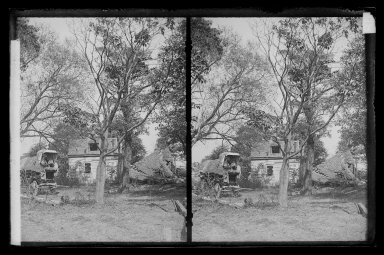 Daniel Berry Austin (American, born 1863, active 1899-1909). <em>Boys on Farm Wagon, House Wrecked, near Bergen Van Wyck House (outside of Frame Lots), Flatlands, Brooklyn</em>, ca. 1899-1909. Gelatin silver glass dry plate negative Brooklyn Museum, Brooklyn Museum/Brooklyn Public Library, Brooklyn Collection, 1996.164.1-85 (Photo: Brooklyn Museum, 1996.164.1-85_IMLS_SL2.jpg)