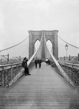 Daniel Berry Austin (American, born 1863, active 1899-1909). <em>Brooklyn Bridge, Looking East, New York City Side</em>, July 7, 1899. Glass plate negative, 5 x 7 in. (12.7 x 17.8 cm). Brooklyn Museum, Brooklyn Museum/Brooklyn Public Library, Brooklyn Collection, 1996.164.1-973 (Photo: Brooklyn Museum, 1996.164.1-973_glass_bw_SL1.jpg)