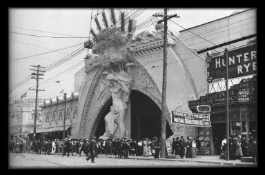 Eugene Wemlinger. <em>Entrance to Dreamland, Coney Island</em>, 1908. Cellulose nitrate negative, 5 1/2 x 3 1/2 in. (14 x 8.9 cm). Brooklyn Museum, Brooklyn Museum/Brooklyn Public Library, Brooklyn Collection, 1996.164.10-26 (Photo: Brooklyn Museum, 1996.164.10-26_IMLS_SL2.jpg)