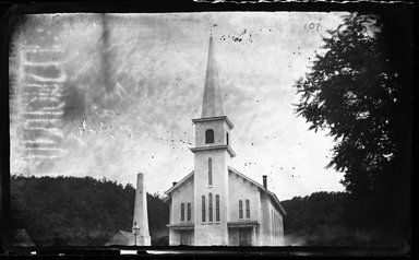 George Bradford Brainerd (American, 1845-1887). <em>Church, Northport, Long Island</em>, ca. 1872-1887. Collodion silver glass wet plate negative Brooklyn Museum, Brooklyn Museum/Brooklyn Public Library, Brooklyn Collection, 1996.164.2-107 (Photo: Brooklyn Museum, 1996.164.2-107_glass_bw_SL4.jpg)