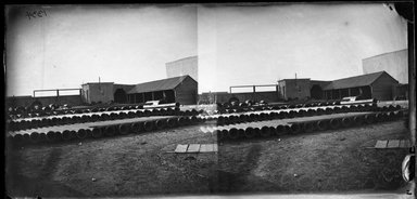 George Bradford Brainerd (American, 1845-1887). <em>Pipe Yard, Gowanus, Brooklyn</em>, March 30, 1874. Collodion silver glass wet plate negative Brooklyn Museum, Brooklyn Museum/Brooklyn Public Library, Brooklyn Collection, 1996.164.2-1334 (Photo: Brooklyn Museum, 1996.164.2-1334_glass_bw_SL4.jpg)
