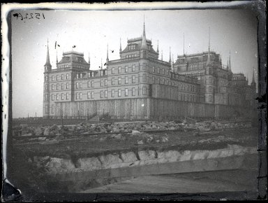 George Bradford Brainerd (American, 1845-1887). <em>Oriental Hotel, Coney Island</em>, March 4, 1877. Collodion silver glass wet plate negative, 3 1/4 x 4 1/4 in. (8.3 x 10.8 cm). Brooklyn Museum, Brooklyn Museum/Brooklyn Public Library, Brooklyn Collection, 1996.164.2-1522a (Photo: Brooklyn Museum, 1996.164.2-1522a_glass_SL1.jpg)