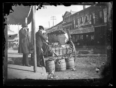 George Bradford Brainerd (American, 1845-1887). <em>Grape Vendor, Brooklyn</em>, ca. 1872-1887. Collodion silver glass wet plate negative Brooklyn Museum, Brooklyn Museum/Brooklyn Public Library, Brooklyn Collection, 1996.164.2-1598 (Photo: Brooklyn Museum, 1996.164.2-1598_glass_IMLS_SL2.jpg)