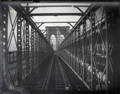 George Bradford Brainerd (American, 1845-1887). <em>Bridge from Train, Brooklyn, NY</em>, ca. 1872-1887. Glass plate negative, 3 1/4 x 4 1/4 in. (8.3 x 10.8 cm). Brooklyn Museum, Brooklyn Museum/Brooklyn Public Library, Brooklyn Collection, 1996.164.2-1606 (Photo: Brooklyn Museum, 1996.164.2-1606_glass_SL1.jpg)