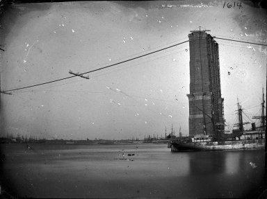George Bradford Brainerd (American, 1845-1887). <em>Construction of Brooklyn Bridge</em>, ca. 1872-1887. Glass plate negative, 3 1/4 x 4 1/4 in. (8.3 x 10.8 cm). Brooklyn Museum, Brooklyn Museum/Brooklyn Public Library, Brooklyn Collection, 1996.164.2-1614 (Photo: Brooklyn Museum, 1996.164.2-1614_glass_bw_SL1.jpg)