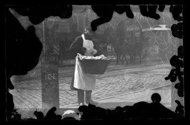 George Bradford Brainerd (American, 1845-1887). <em>Candy Man, Fulton Street, Brooklyn</em>, ca. 1872-1887. Collodion silver glass wet plate negative Brooklyn Museum, Brooklyn Museum/Brooklyn Public Library, Brooklyn Collection, 1996.164.2-1736 (Photo: Brooklyn Museum, 1996.164.2-1736_glass_IMLS_SL2.jpg)