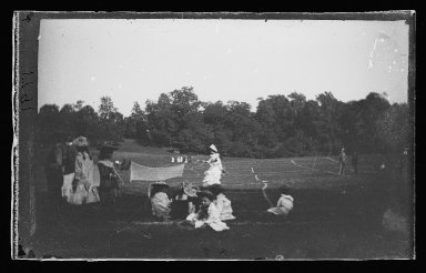 George Bradford Brainerd (American, 1845-1887). <em>Lawn Tennis, Prospect Park, Brooklyn</em>, ca. 1872-1887. Collodion silver glass wet plate negative Brooklyn Museum, Brooklyn Museum/Brooklyn Public Library, Brooklyn Collection, 1996.164.2-1791 (Photo: Brooklyn Museum, 1996.164.2-1791_glass_IMLS_SL2.jpg)