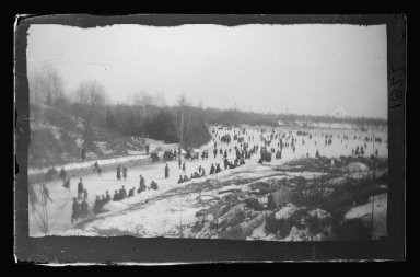 George Bradford Brainerd (American, 1845-1887). <em>Skating, Prospect Park, Brooklyn</em>, January 31, 1885. Collodion silver glass wet plate negative Brooklyn Museum, Brooklyn Museum/Brooklyn Public Library, Brooklyn Collection, 1996.164.2-1822 (Photo: Brooklyn Museum, 1996.164.2-1822_glass_IMLS_SL2.jpg)