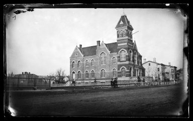 George Bradford Brainerd (American, 1845-1887). <em>Town Hall, Flatbush, Brooklyn</em>, ca. 1872-1887. Collodion silver glass wet plate negative Brooklyn Museum, Brooklyn Museum/Brooklyn Public Library, Brooklyn Collection, 1996.164.2-182 (Photo: Brooklyn Museum, 1996.164.2-182_glass_IMLS_SL2.jpg)