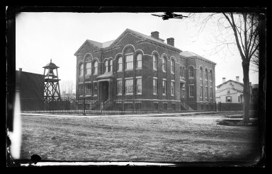 George Bradford Brainerd (American, 1845-1887). <em>Public School #1, Flatbush, Brooklyn</em>, ca. 1872-1887. Collodion silver glass wet plate negative Brooklyn Museum, Brooklyn Museum/Brooklyn Public Library, Brooklyn Collection, 1996.164.2-185 (Photo: Brooklyn Museum, 1996.164.2-185_glass_IMLS_SL2.jpg)