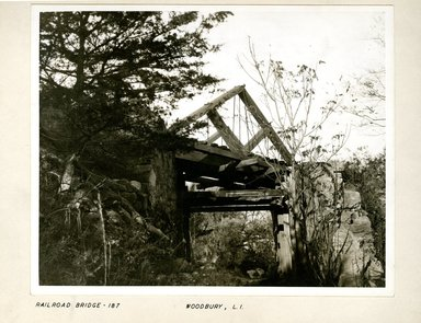 George Bradford Brainerd (American, 1845-1887). <em>Railroad Bridge, Woodbury, Long Island</em>, ca. 1872-1887. Collodion silver glass wet plate negative Brooklyn Museum, Brooklyn Museum/Brooklyn Public Library, Brooklyn Collection, 1996.164.2-187 (Photo: Brooklyn Museum, 1996.164.2-187_print.jpg)