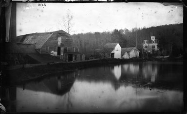 George Bradford Brainerd (American, 1845-1887). <em>Phelps Paper Mill, Roslyn, Long Island</em>, ca. 1872-1887. Collodion silver glass wet plate negative Brooklyn Museum, Brooklyn Museum/Brooklyn Public Library, Brooklyn Collection, 1996.164.2-200 (Photo: Brooklyn Museum, 1996.164.2-200_glass_bw_SL4.jpg)