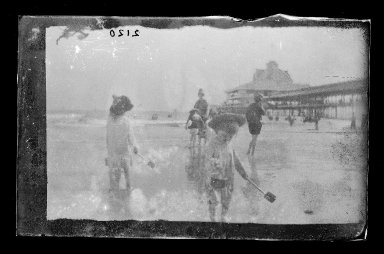 George Bradford Brainerd (American, 1845-1887). <em>Bather, Coney Island, Brooklyn</em>, ca. 1885. Dry negative plate Brooklyn Museum, Brooklyn Museum/Brooklyn Public Library, Brooklyn Collection, 1996.164.2-2120 (Photo: Brooklyn Museum, 1996.164.2-2120_glass_IMLS_SL2.jpg)