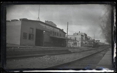 George Bradford Brainerd (American, 1845-1887). <em>Coney Island Railroad Station</em>, late 1870s. Wet-collodion negative, 5 × 8 in. (12.7 × 20.3 cm). Brooklyn Museum, Brooklyn Museum/Brooklyn Public Library, Brooklyn Collection, 1996.164.2-277 (Photo: Brooklyn Museum, 1996.164.2-277_glass_SL1.jpg)