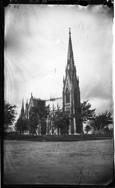 George Bradford Brainerd (American, 1845-1887). <em>Cathedral, Garden City, Long Island</em>, 1880. Collodion silver glass wet plate negative Brooklyn Museum, Brooklyn Museum/Brooklyn Public Library, Brooklyn Collection, 1996.164.2-34 (Photo: Brooklyn Museum, 1996.164.2-34_glass_bw_SL4.jpg)