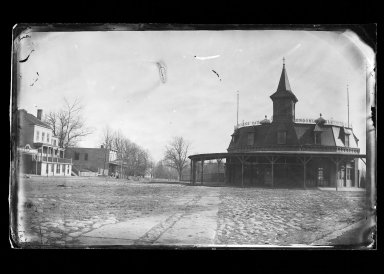 George Bradford Brainerd (American, 1845-1887). <em>Railroad Station, Coney Island, Brooklyn</em>, ca. 1872-1887. Collodion silver glass wet plate negative Brooklyn Museum, Brooklyn Museum/Brooklyn Public Library, Brooklyn Collection, 1996.164.2-389 (Photo: Brooklyn Museum, 1996.164.2-389_glass_IMLS_SL2.jpg)