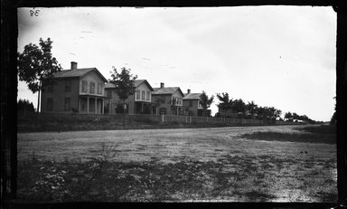 George Bradford Brainerd (American, 1845-1887). <em>Second Class Houses, Garden City, Long Island</em>, ca. 1872-1887. Collodion silver glass wet plate negative Brooklyn Museum, Brooklyn Museum/Brooklyn Public Library, Brooklyn Collection, 1996.164.2-38 (Photo: Brooklyn Museum, 1996.164.2-38_glass_bw_SL4.jpg)