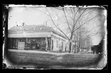 George Bradford Brainerd (American, 1845-1887). <em>Frank Bollinger's Meat Market, Flatbush, Brooklyn</em>, ca. 1872-1887. Collodion silver glass wet plate negative Brooklyn Museum, Brooklyn Museum/Brooklyn Public Library, Brooklyn Collection, 1996.164.2-396 (Photo: Brooklyn Museum, 1996.164.2-396_glass_IMLS_SL2.jpg)