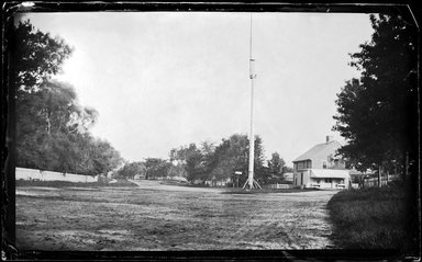George Bradford Brainerd (American, 1845-1887). <em>Street and Flagpole, Southampton, Long Island</em>, ca. 1872-1887. Collodion silver glass wet plate negative Brooklyn Museum, Brooklyn Museum/Brooklyn Public Library, Brooklyn Collection, 1996.164.2-446 (Photo: Brooklyn Museum, 1996.164.2-446_glass_bw_SL1.jpg)