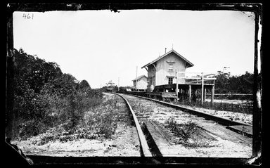 George Bradford Brainerd (American, 1845-1887). <em>Railroad Station, Quogue, Long Island</em>, ca. 1872-1887. Collodion silver glass wet plate negative Brooklyn Museum, Brooklyn Museum/Brooklyn Public Library, Brooklyn Collection, 1996.164.2-461 (Photo: Brooklyn Museum, 1996.164.2-461_SL1.jpg)