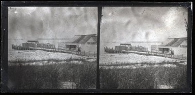 George Bradford Brainerd (American, 1845-1887). <em>Steamboat Landing, Coney Island</em>, 1870s. Collodion silver glass wet plate negative, 3 1/4 x 6 3/4 in. (8.3 x 17.1 cm). Brooklyn Museum, Brooklyn Museum/Brooklyn Public Library, Brooklyn Collection, 1996.164.2-701 (Photo: Brooklyn Museum, 1996.164.2-701_glass_SL1.jpg)
