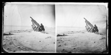 George Bradford Brainerd (American, 1845-1887). <em>Wreck on Beach, Coney Island, Brooklyn</em>, ca. 1872-1887. Collodion silver glass wet plate negative Brooklyn Museum, Brooklyn Museum/Brooklyn Public Library, Brooklyn Collection, 1996.164.2-706 (Photo: Brooklyn Museum, 1996.164.2-706_glass_IMLS_SL2.jpg)