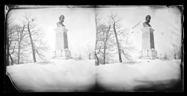 George Bradford Brainerd (American, 1845-1887). <em>Payne's Bust, Prospect Park, Brooklyn</em>, ca. 1872-1887. Collodion silver glass wet plate negative Brooklyn Museum, Brooklyn Museum/Brooklyn Public Library, Brooklyn Collection, 1996.164.2-715 (Photo: Brooklyn Museum, 1996.164.2-715_glass_IMLS_SL2.jpg)