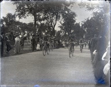Edgar S. Thomson (American, active 1890s-1900s). <em>Opening of Coney Island Cycle Path</em>, 1896. glass plate negative Brooklyn Museum, Brooklyn Museum/Brooklyn Public Library, Brooklyn Collection, 1996.164.7-51 (Photo: Brooklyn Museum, 1996.164.7-51_glass_SL1.jpg)