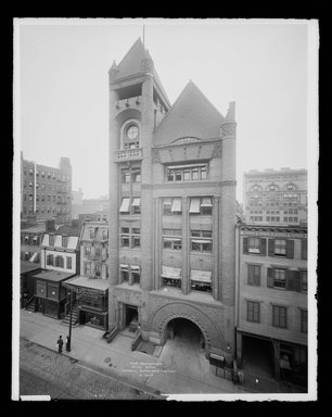 Irving Underhill (American, 1872-1960). <em>Fire Headquarters, Jay Street, Brooklyn</em>, ca. 1896-1950. Gelatin silver glass dry plate negative Brooklyn Museum, Brooklyn Museum/Brooklyn Public Library, Brooklyn Collection, 1996.164.8-B16617. © artist or artist's estate (Photo: Brooklyn Museum, 1996.164.8-B16617_glass_IMLS_SL2.jpg)