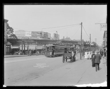 Irving Underhill (American, 1872-1960). <em>Flatbush Avenue at 5th Avenue, Brooklyn</em>, ca. 1896-1950. Gelatin silver glass dry plate negative Brooklyn Museum, Brooklyn Museum/Brooklyn Public Library, Brooklyn Collection, 1996.164.8-B19100. © artist or artist's estate (Photo: Brooklyn Museum, 1996.164.8-B19100_glass_IMLS_SL2.jpg)
