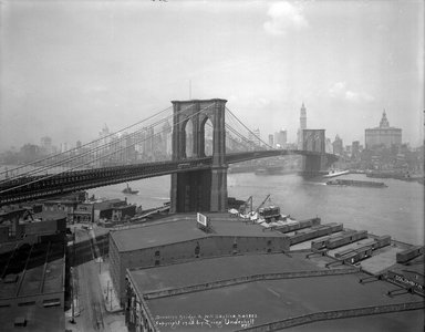 Irving Underhill (American, 1872-1960). <em>Brooklyn Bridge & New York Skyline</em>, 1925. Glass plate negative, 8 x 10 in. (20.3 x 25.4 cm). Brooklyn Museum, Brooklyn Museum/Brooklyn Public Library, Brooklyn Collection, 1996.164.8-B43802. © artist or artist's estate (Photo: Brooklyn Museum, 1996.164.8-B43802_glass_bw_SL1.jpg)