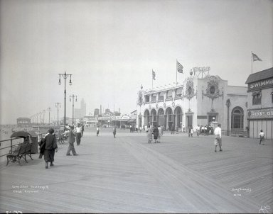 Irving Underhill (American, 1872-1960). <em>Coney Island Boardwalk and Child's Restaurant</em>, 1929. Gelatin dry glass plate negative, 8 x 10 in. (20.3 x 25.4 cm). Brooklyn Museum, Brooklyn Museum/Brooklyn Public Library, Brooklyn Collection, 1996.164.8-B55103. © artist or artist's estate (Photo: Brooklyn Museum, 1996.164.8-B55103_glass_SL1.jpg)