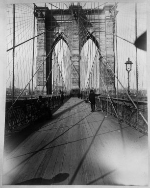 Breading G. Way (American, 1860-1940). <em>East River Bridge</em>, ca. 1888. Cellulose nitrate negative Brooklyn Museum, Brooklyn Museum/Brooklyn Public Library, Brooklyn Collection, 1996.164.9-20 (Photo: Brooklyn Museum, 1996.164.9-20_bw.jpg)