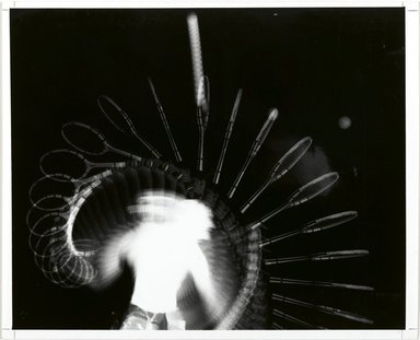 Harold Edgerton (American, 1903 - 1990). <em>Tennis Serve (Multiflash)</em>, 1949. Gelatin silver photograph, image: 7 3/4 x 10 1/2 in. (19.7 x 26.7 cm). Brooklyn Museum, Gift of The Harold and Esther Edgerton Family Foundation, 1996.166.21. Creative Commons-BY (Photo: Brooklyn Museum, 1996.166.21_PS1.jpg)