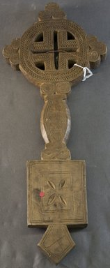 Amhara. <em>Hand Cross (mäsqäl)</em>, 19th or 20th century. Wood, 16 x 6 1/4 x 1 in. (40.6 x 15.8 x 2.5 cm). Brooklyn Museum, Gift of Joseph and Margaret Knopfelmacher, 1996.170.13. Creative Commons-BY (Photo: Brooklyn Museum, 1996.170.13_front_PS10.jpg)