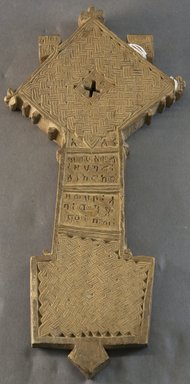 Amhara. <em>Hand Cross (mäsqäl)</em>, 19th or 20th century. Wood, 13 5/8 x 6 3/4 x 1 in. (34.6 x 17.1 x 2.5 cm). Brooklyn Museum, Gift of Joseph and Margaret Knopfelmacher, 1996.170.14. Creative Commons-BY (Photo: Brooklyn Museum, 1996.170.14_PS10.jpg)