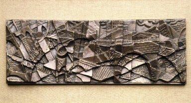 Herzl Emanuel (American, 1914-2002). <em>View of Lower Manhattan</em>, modeled 1937; cast 1990. Bronze, 8 1/4 x 23 13/16 x 1 1/4in. (21 x 60.5 x 3.2cm). Brooklyn Museum, Purchase gift of The Richard Florsheim Art Fund, 1996.186 (Photo: Brooklyn Museum, 1996.186_SL1.jpg)