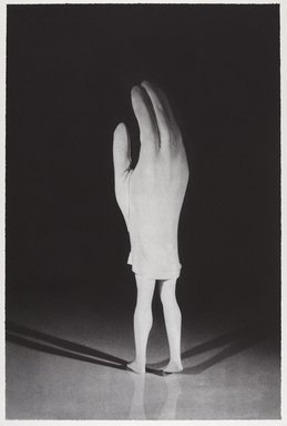 Laurie Simmons (American, born 1949). <em>Walking Glove (from Food Clothing Shelter portfolio)</em>, 1996. Photogravure on paper, sheet: 28 1/2 x 18 7/8 in. (72.4 x 47.9 cm). Brooklyn Museum, Robert A. Levinson Fund, 1996.189.3. © artist or artist's estate (Photo: Brooklyn Museum, 1996.189.3_PS9.jpg)