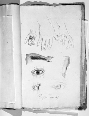 Jefferson Gauntt (American, 1805-1864). <em>Sketchbook</em>, 1822. Graphite, red pencil, ink, and watercolor on paper, 14 x 8 7/8 x 3/16 in. (35.6 x 22.5 x 0.5 cm). Brooklyn Museum, Gift of Nancy Winslow Parker, 1996.192 (Photo: Brooklyn Museum, 1996.192_bw_page02.jpg)
